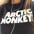 Música Rock Banda Arctic Monkeys Letra T-shirt 2016 Mujeres Del Verano de Letras de Impresión de la Camiseta Botín Harajuku Femenina Camiseta Impresa