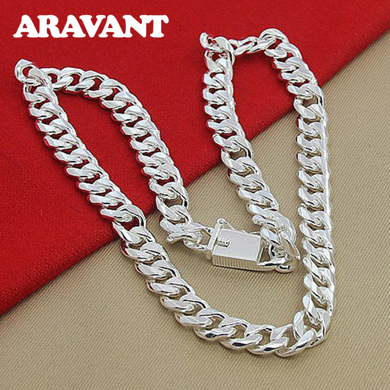 10MM Men Necklace Chain 925 Silver Necklaces Fashion Jewelry Accessories