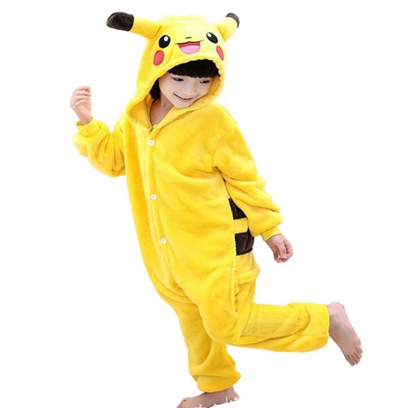 2018 New Children Pokemon Pikachu Dinosaur Panda Onesie Kids Girls Boys Warm Soft Pajamas One Piece Sleepwear Halloween Costumes цена