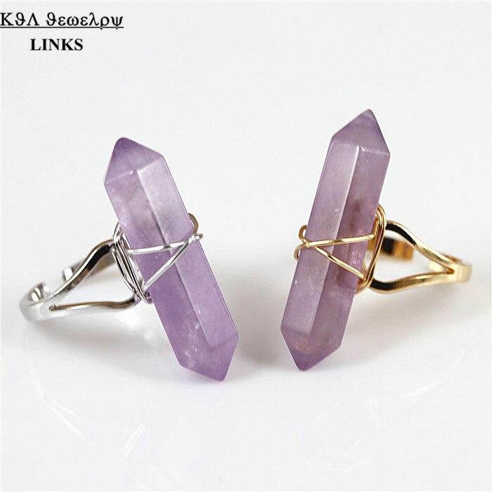 Natuursteen Ringen Vintage Anillos Gril Zeshoekige Natuur Druzy Quartz Crystal Ringen voor Vrouwen Bague Sieraden