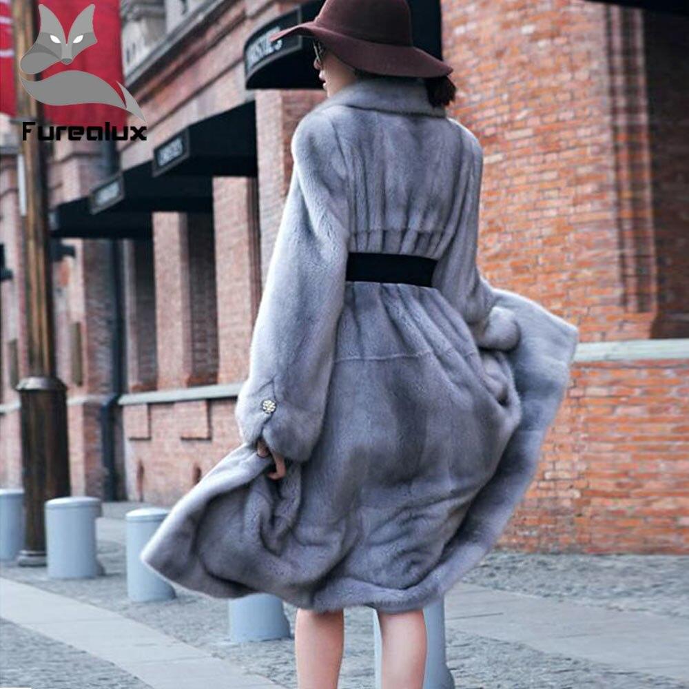 Nouveau Furealux De Vison Réel Luxe 2019 À Manteaux Fourrure Revers Sapphire Veste Imported Naturel Femmes Véritable Long Mode Cuir r5xrw