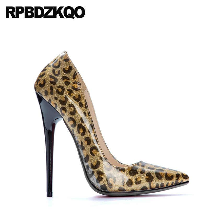 cdd43f82df9e ... Stiletto 13 45 Crossdresser Glitter High Heels 14cm Leopard Print  Pointed Toe 12 44 Us Size ...