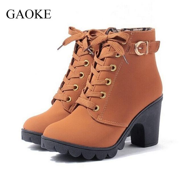 2016 Nueva Otoño Invierno Mujeres Botas de Alta Calidad de Solid Lace-up Botas zapatos de Las Señoras de LA PU de Cuero de Moda Europea Libre gratis