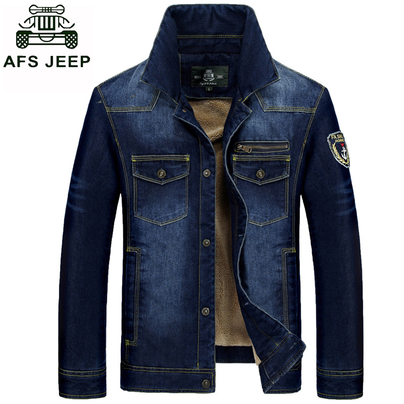 AFS JEEP denim jacket coat men high quality casual jeans jacket for men warm thicken Winter parka denim jacket with fur for men