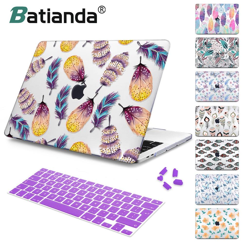 For New MacBook Air Pro Retina 11 12 13 15 for Macbook Pro 13 15 2017 2018 A1708 A1989 Floral Feather Print Laptop Case Cover цена