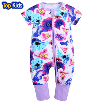 2019 Newborn Baby Girls rompers short sleeve cotton floral print boys clothes unisex infant soft clothing 0-2 baby wear MBR246 1