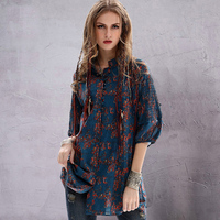 2018 New Vintage Etnico Estate Sheer Camicetta Tropical Stampa Floreale Lunga Camicie Casual Camicette da Donna In Cotone Lino Boho Shirt Top