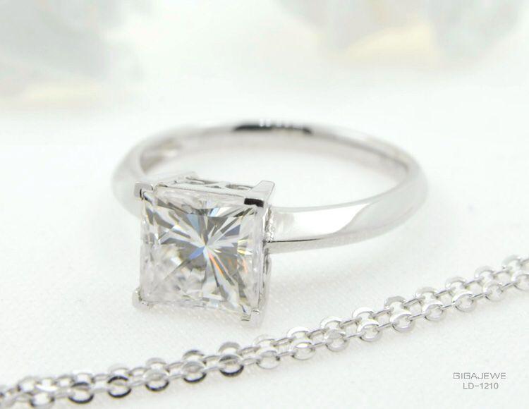 GIGAJEWE Or Blanc 2.0Ct Brillant Moissanite Mode Bijoux Moissanite Gems Couleur Bijoux De Mariage Anneaux Pour Les Femmes
