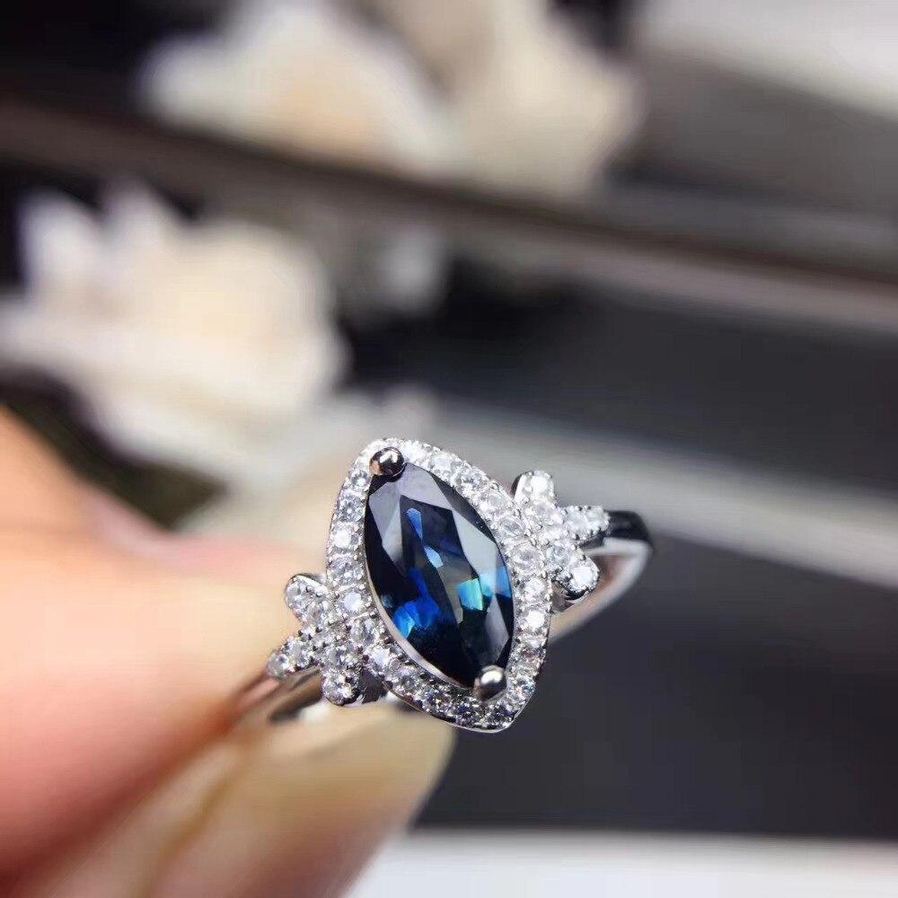 Terompet Sangkakala Aksesori Cincin Katup Geser Jari Pengganti Lonceng Keciel Natural Hitam Biru Sapphire Gem S925 Perak Batu Permata Alam Fashion Kepribadian Angle Wanita