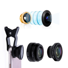 3 in 1 Fish Eye+ Wide Angle+ Macro universal clip Camera Lens Kit for Xiaomi iPhone huawei and more smartphone