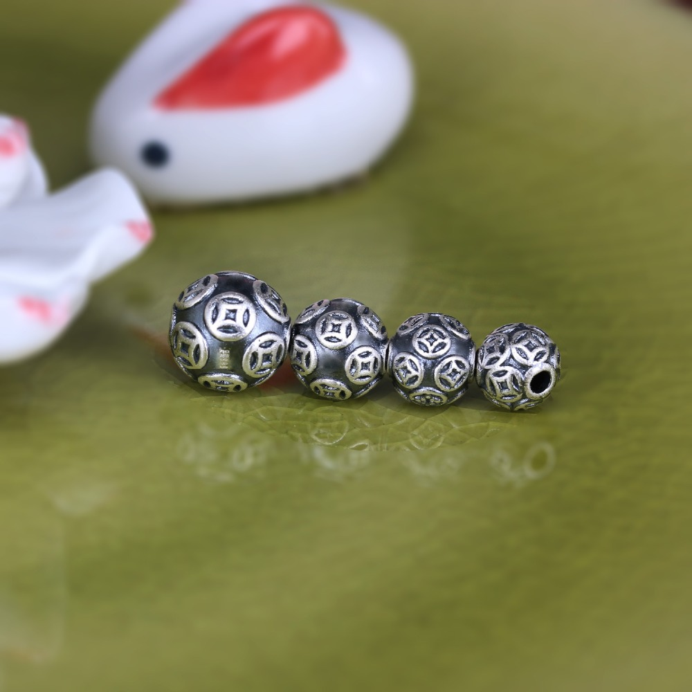 100% 3D 999 Silver The Chinese Ancient Coin Symbol Beads Pure Silver Lucky Symbol Beads DIY Beads Good For Wealth