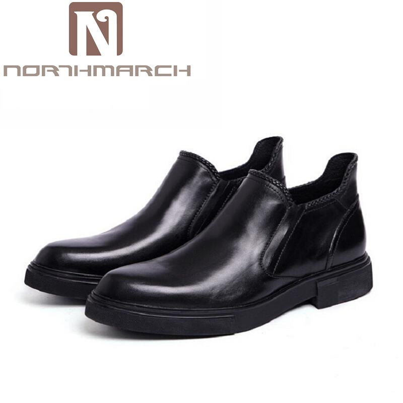 NORTHMARCH Brand Vintage Retro Handmade Street Style Mens Ankle Boots Shoes Autumn Winter Genuine Leather Business Chelsea Boots brand vintage retro 100