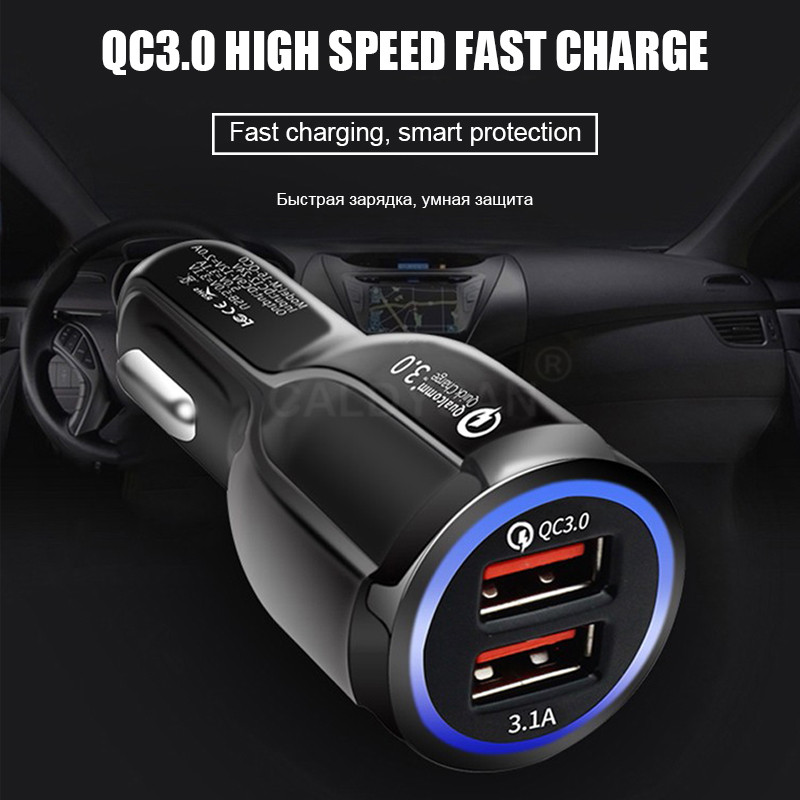 Car USB Charger Quick Charge 3.0 Mobile Phone Charger 3.1A Fast Car Charger For iPhone X 7 Samsung Tablet 2 Port USB Car-Charger