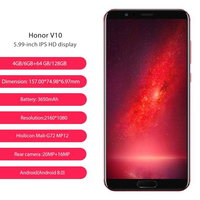 Global Rom Huawei Honor V10 64GB 20MP+16MP Dual Rear Cameras 3750mAh 5.99 1