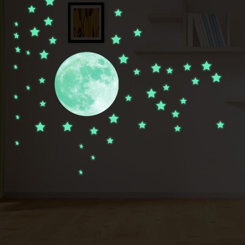 Permalink to Home Decor Glow In Dark Wall Ceiling Stars Moon Stickers Wall Stickers Night Kid Home Decor wall sticker Home Deco mirror JU24