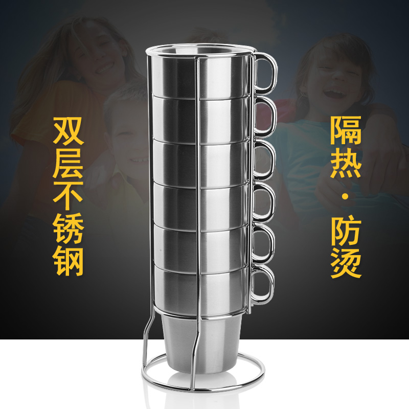 Kitchen Coffeeware mug Double layer stainless steel coffee cups Folding With Rack Set 6 pcs/set