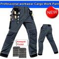 Hombres pantalones de trabajo con eva rodilleras gris pantalón de trabajo ropa de trabajo mecánico bragas de los hombres de múltiples bolsillos envío libre