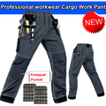 Mens work trousers with eva knee pads grey work pant work wear mechanic pant men multi pockets free shipping
