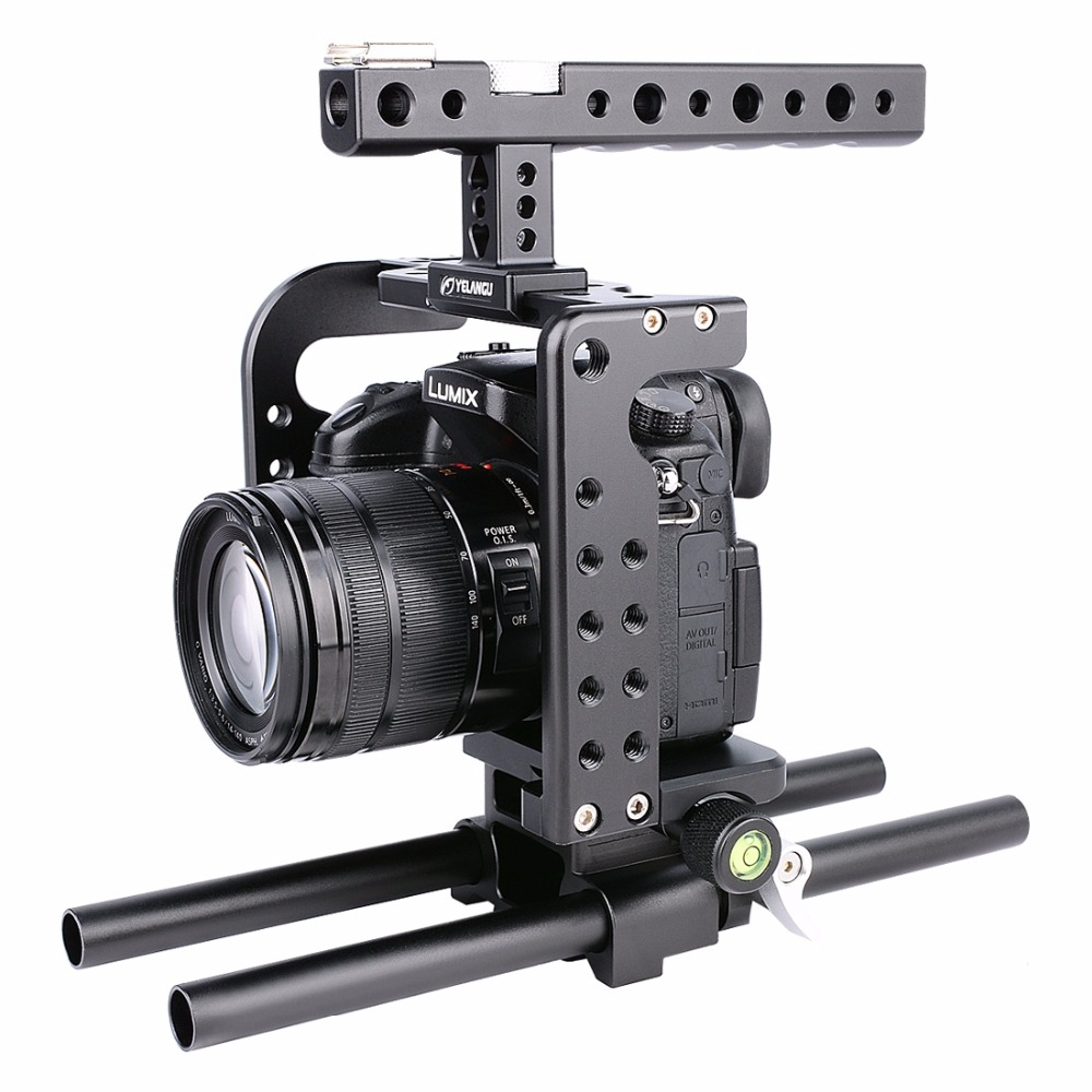 YELANGU For Panasonic Lumix DMC-GH5 Camera Stabilizer Handheld Protective Video Camera Cage+Top Handle Kit Film Making System yelangu aluminum alloy camera video cage kit film system with video cage top handle grip matte box follow focus for dslr