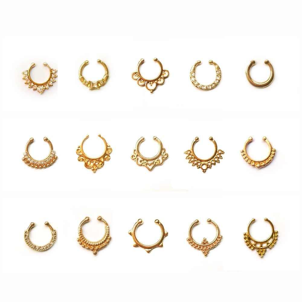 3 цвета Кристалл кольцо в нос Имитация Круглый посеребренный перегородка колечки для пирсинга Клипса-обманка не хула-Хуп женские украшения для тела оптом