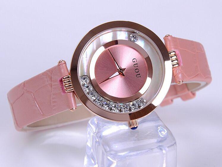 Moda guou marca las mujeres Rolling drill vestido relojes lujo Quicksand reloj casual Cuero auténtico rhinestone señora Relojes
