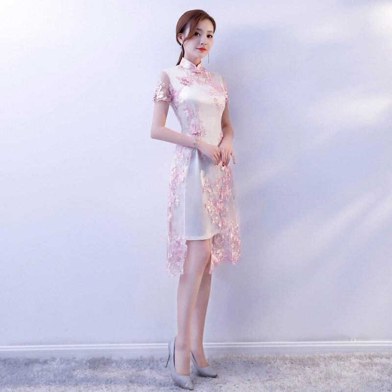 Chino tradicional ropa de encaje bordado Cheongsam vestidos de manga corta Qipao gran para boda baile fiesta cóctel - 2