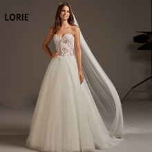 LORIE Appliques A-Line Wedding Dresses Sleeveless Backless Soft Tulle Beach Bridal Dress Lace Boho Wedding Gowns Party mariage