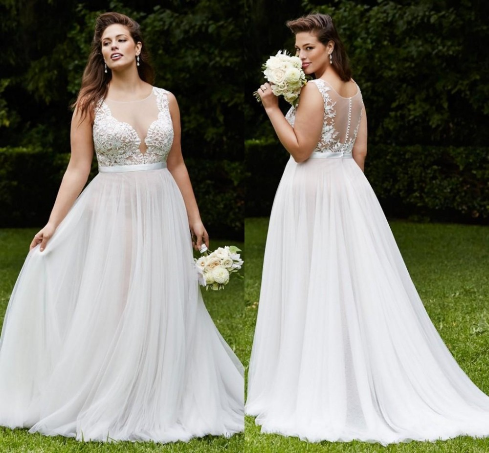 2016 Plus Size Wedding Dresses Summer Beach Bridal Gowns With Sheer