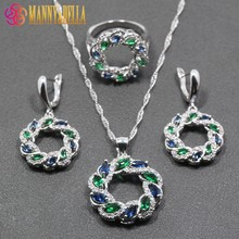 Unique Blue  Green Cubic Zirconia 925 Sterling Silver Women Jewelry Set Ring Size 6/7/8/9/10 Free Gift  Box T294
