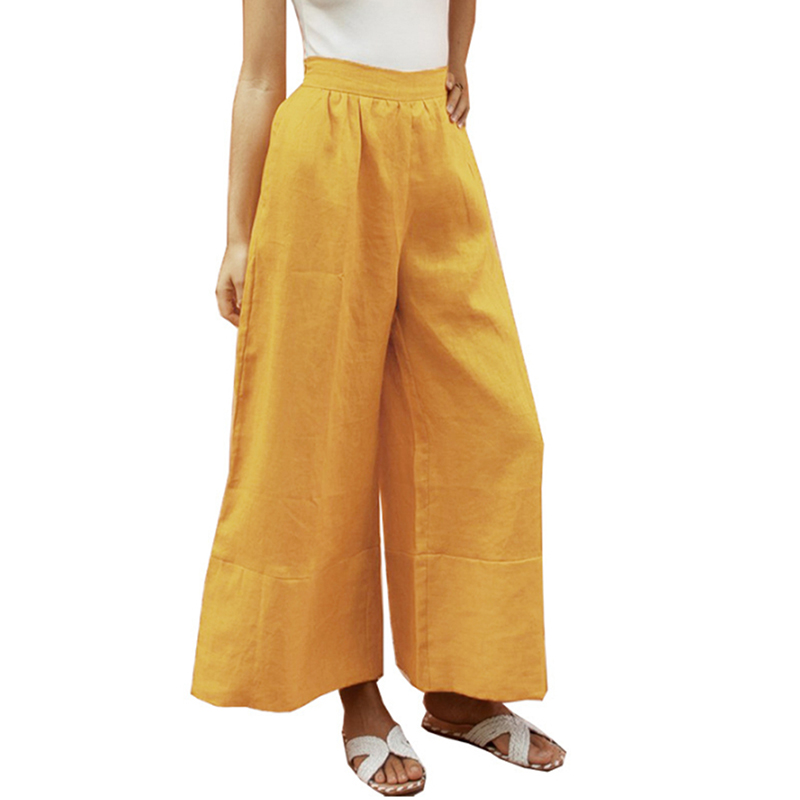High Waist Loose   Wide     Leg     Pants   Women Harem   Pants   Casual Beach Elastic Pockets Trousers Solid Color   Wide   Solid   Leg   Long Trousers