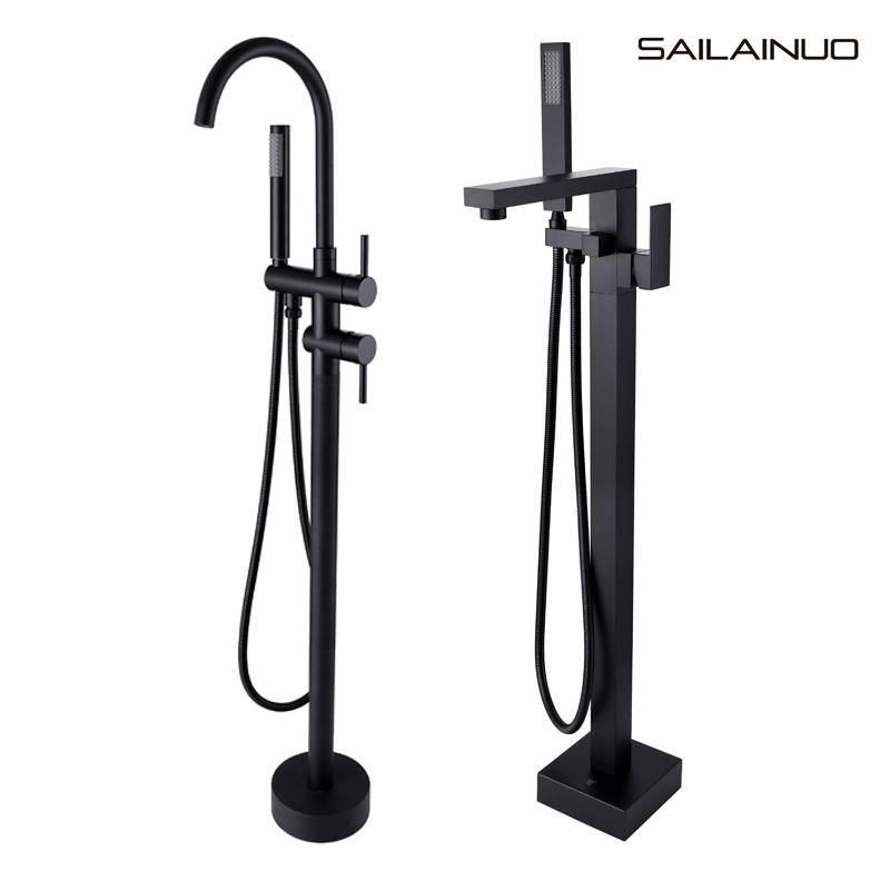Solid Brass Black Floor Type Standing Bathtub Faucet Hot And Cold Water Vertical Barrel Shower Royal Bath Tub Side Faucet Set Sd