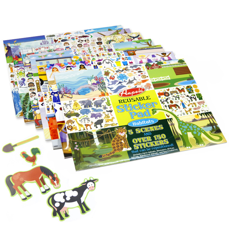 Over 150pcs Children Reusable Sticker Pad Include 5 Scenes Animals Vehicles Princess Castle Dress-up 35*27cm Stickers Book Gift