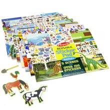 Более 150 шт., детская многоразовая наклейка, включает 5 сцен, животные, транспортные средства, платье принцессы, замка, Размеры 35*27 см, наклейки, книга в подарок