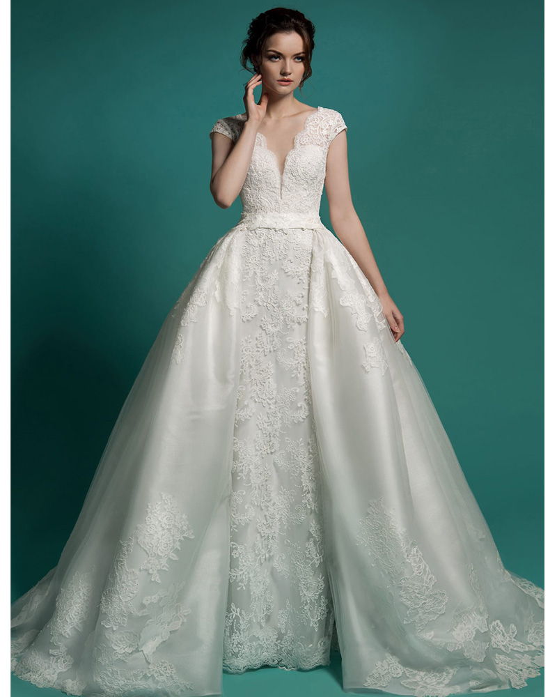 Detachable Trains For Wedding Gowns: Vestido De Noiva Long Bridal Gown Detachable Skirt Wedding