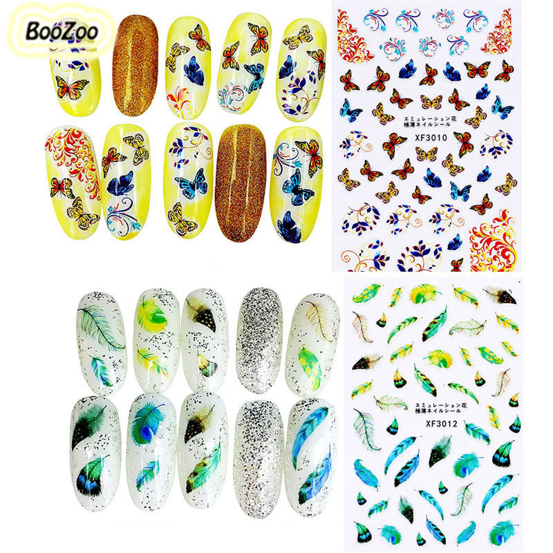 Bluezoo 1 Sheet Pack Flower Feather Butterfly Nails