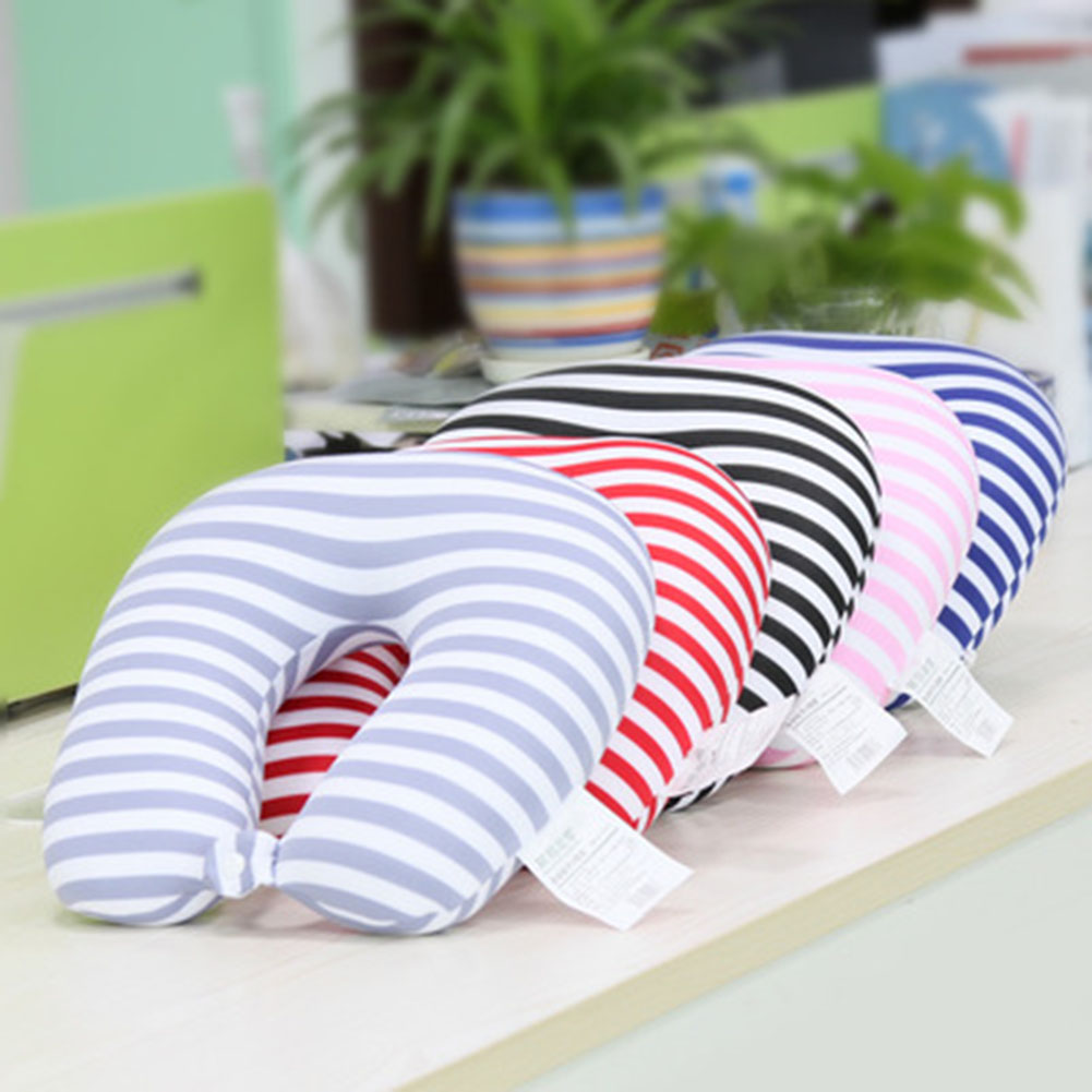 Striped Neck Travel Pillow Filling Foam U Shape Neck Pillow Cushion Soft Foam Particle Pillow For Airplane Traveling Office