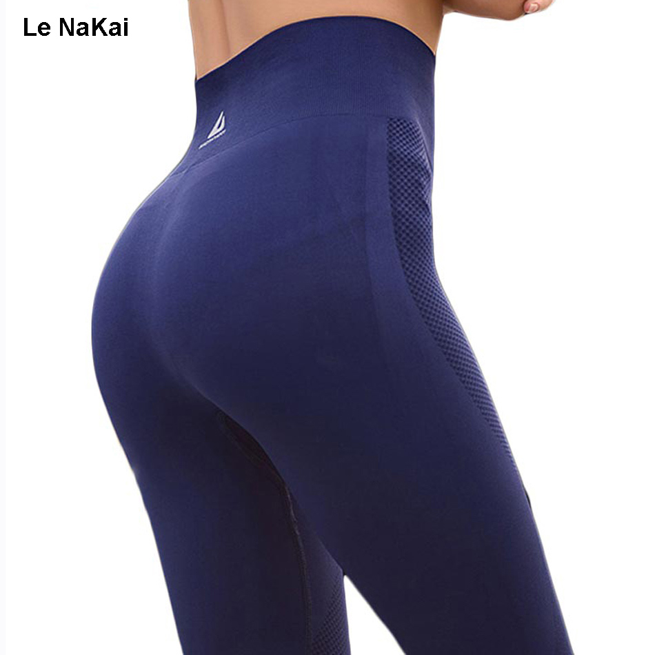 Le NaKai High waist knitting yoga pants elastic yoga legging fitness gym tights workout running trousers hip up sports pants