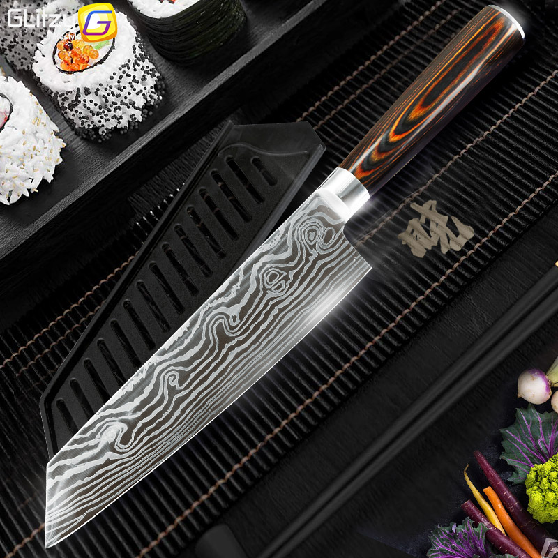 Kitchen knife 7.5 inch Chef knives 7CR17 440C Japanese High Carbon Stainless Steel Imitation Damascus Pattern Santoku Knife Tool