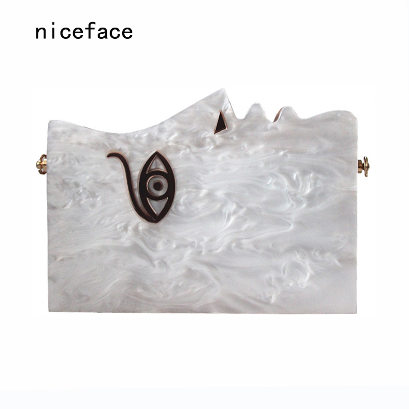New 2017 Women messenger bag brand fashion wallet elegant face Character shoulder Evening bag Bridesmaid handbag