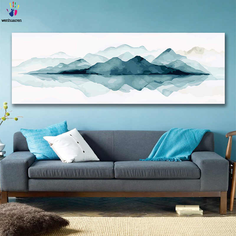DIY colorings pictures by numbers with colors Blue mountain landscape picture drawing painting by numbers framed Home