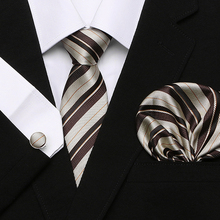 Men`s Tie 100% Silk Red Plaid print Jacquard Woven + Hanky Cufflinks Sets For Formal Wedding Business Party