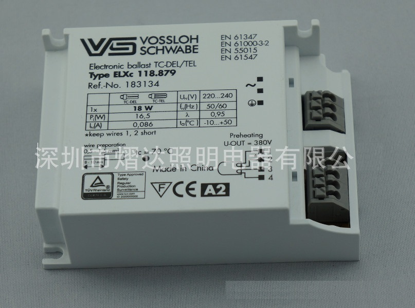 ELXc118 879 18W Electronic Ballast Standard Rectifiers TC DEL TEL for T8 Lamp 50000h Working Time