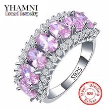 100% Real 925 anillo de Plata de Zafiro Del Anillo de Bodas de Compromiso Zirconia Dedo anel CZ Rosa Diamante Anillos Mujer Joyería AR133
