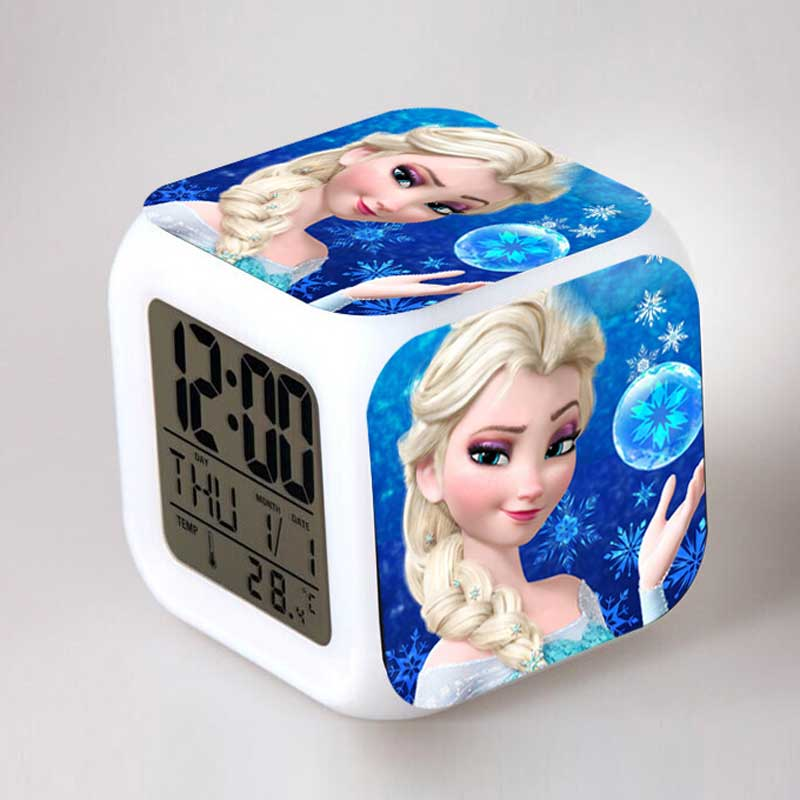 Anime Figurines Elsa and Anna Juguetes LED Alarm Clock Colorful Flash Night Light Party Kids Toys for Girls Birthday gift anime figure toy story 3 buzz lightyear and woody doll led alarm clock color touch light movie figurines toys for boys gift