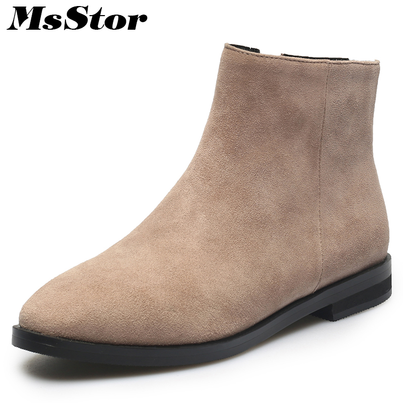 MsStor Square Toe Low Heel Boots Shoes Woman Casual Fashion Zipper Ankle Boots Women Shoes Winter Mature Concise Boots Women msstor round toe thick bottom women boots casual fashion concise ankle boots women shoes mature elegant platform boots women