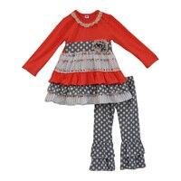 冬新生児チュニックドレスフリルパンツ子供ブティック衣装春卸売ポルカドット綿子供服f097