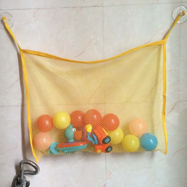 1PC/2PC/3PCS 45*35CM Baby Bath Toy Organizer Holder Toddler Bathtub Mesh Net Newborn Bath Bag Pouch Kids Storage Suction Cup Bag   Happy Baby Mama
