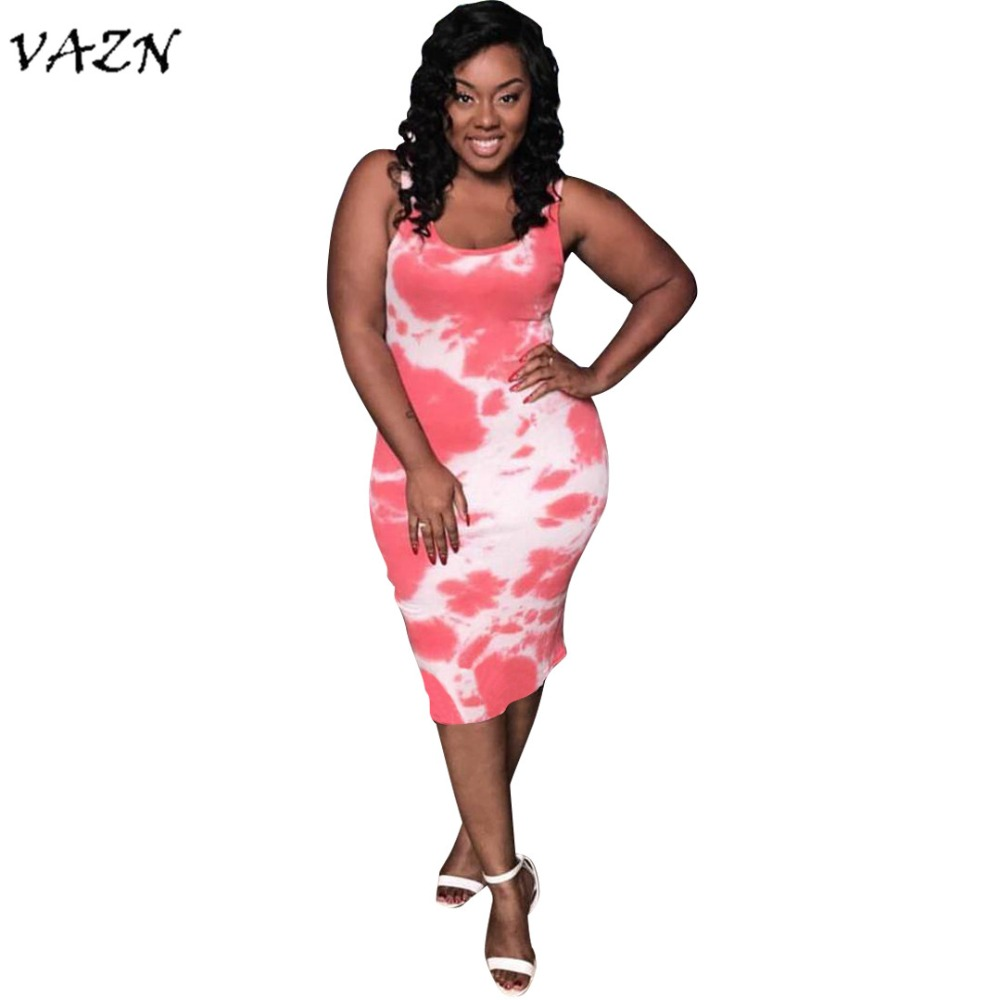 VAZN Top Quality <font><b>New</b></font> Design <font><b>2018</b></font> <font><b>Sexy</b></font> <font><b>Style</b></font> <font><b>Women</b></font> <font><b>Dress</b></font> Solid O-Neck <font><b>Sleeveless</b></font> Bodycon Midi <font><b>Dress</b></font> Vestido 5023 image