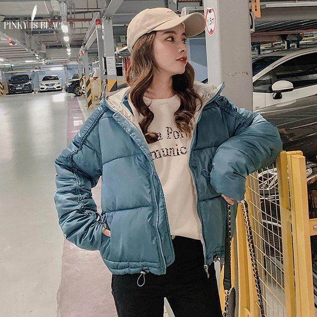 PinkyIsBlack 2019 Rahat Bayanlar Pamuk kapitone ceket Kısa Sonbahar Kış Wadded Ceket Kadın Kapşonlu Kışlık Mont Kadın Parkas