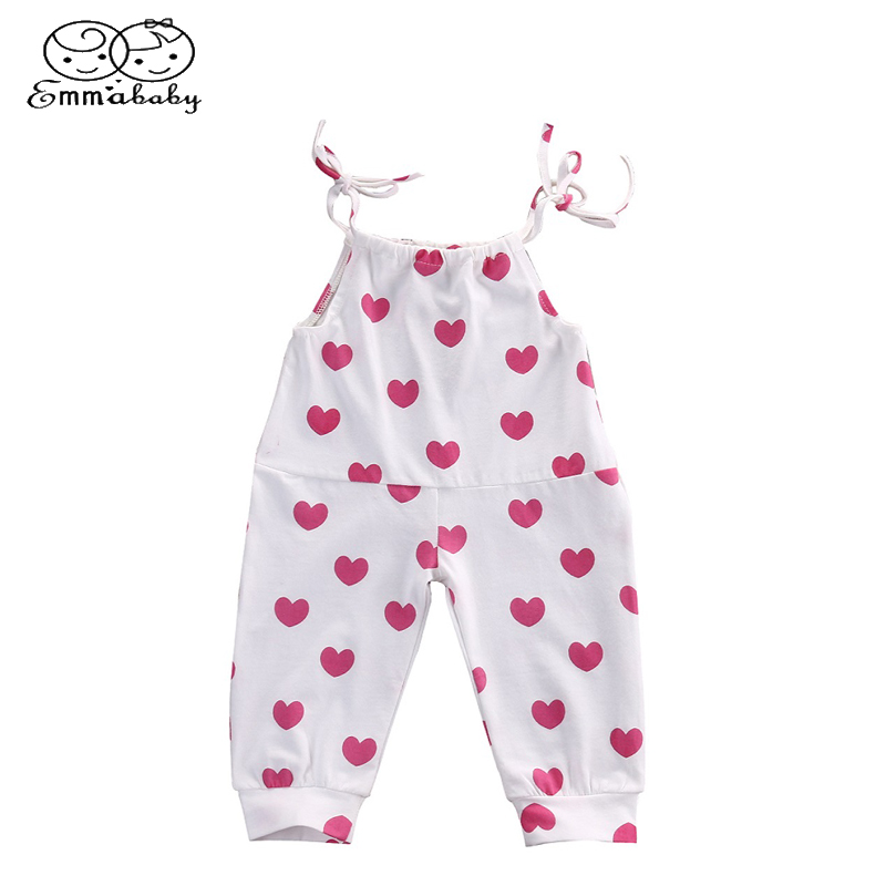 Emmababy Cute Newborn Baby Valentines LOVE Infant Toddler Spaghetti straps Girl Romper Jumper Hearts Romper Jumpsuit Clothes